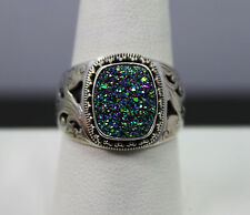 Sarda Sterling Silver Purple/Blue/Green Drusy Ring Size 10