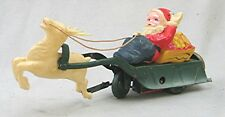 Vintage Tin & Celluloid Wind Up Santa Clause Sled with Reindeer - Made in Japan