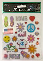 1 sheet (25 stickers) groovy flower stickers scrapbooking LOVE flip flops