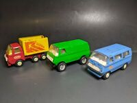 3 Vintage Tonka Pressed Steel Vehicles 2 Vans Busses 1 Dump Truck