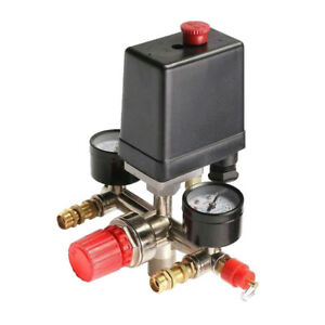 90~120Psi Air Compressor Pressure Switch Control Valve Manifold Regulator Gauge