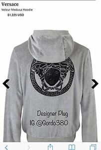 New Authentic Versace Velour Hoodie Sold Out (1,225) Brand New 2XL