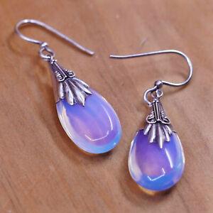 Vintage Sterling 925 silver handmade earrings with teardrop moonstone