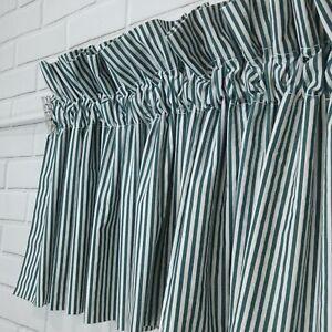 Croscill Home Blouson 2 Valances Spruce Green White Stripes Park Avenue 88 x 17