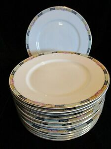 VINTAGE KPM 27044-4576 GERMANY YELLOW & BLUE BORDER ROSES 12 DINNER PLATES 9 5/8