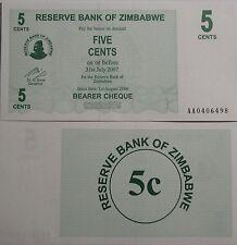"""BILLETE """"  ZIMBABWE   5  CENTIMOS   AÑO  2007     PLANCHA    UNC"""