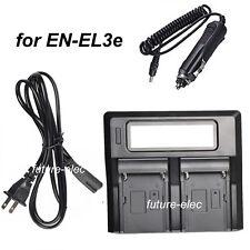 Dual Double EN-EL3e ENEL3e Battery Car Charger for Nikon D300 D700 D80 D90 D200