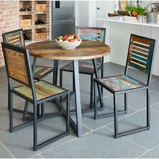 Urban Chic round dining table reclaimed wood and metal furniture