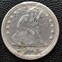 1874 S Seated Liberty Quarter Dollar 25c RARE Circulated Damaged  #7276