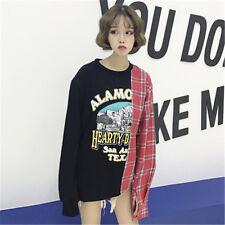 Loose lattice shirt stitching printed round neck long sleeve t-shirt women top