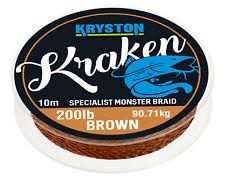 1,70 EUR / Meter KRYSTON Kraken GRAVEL BROWN 10m 200lb Monster Braid Wallervo...