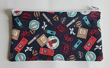 London Tourist Fabric Handmade Pencil Case Storage Pouch (Big Ben/Underground)