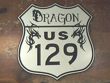 Engraved ROUTE 129 Tail of the Dragon custom highway road sign garage man cave