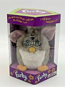 Furby 70-800 Tiger Electronic Interactive Toy Grey White Pink Ears Non Working