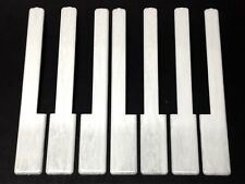 """Simulated Ivory Piano Keytops, Glossy Grained White, 1 Octave, 2"""" Long Head"""