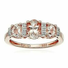 Rose Gold-plated Sterling Silver Morganite and Diamond-accented Ring Size 7