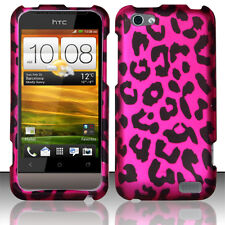 For Virgin Mobile HTC ONE V Rubberized HARD Case Phone Cover Hot Pink Leopard