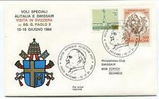 FFC 1984 Swissair Alitalia Special Flight Visita in Svizzera Poste Vaticane