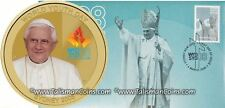 Australia Perth 2008 Pope Benedict XVI $1 Coin + Stamp First Day Cover PNC FDC