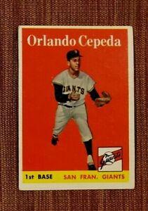 1958 Topps #343 Orlando Cepeda San Francisco Giants Rookie Baseball Card RC