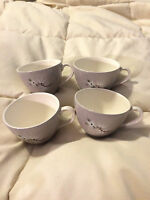 4 VINTAGE ENGLAND ROYAL DOULTON PURPLE FROST PINE FINE CHINA MINI TEA CUPS LOT