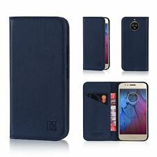 Classic Style Real Leather Book Wallet Case Cover for Motorola Moto G5s Plus Moto.g5splus.32ndclassic-navyblue Navy Blue