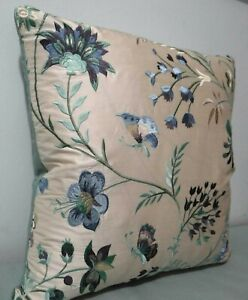"""GP & J Baker, Guinevere, embroidered silk for cushion cover, 18x18"""""""