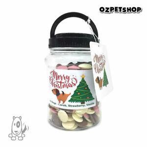 Christmas Treat Jar of Lollies for Dogs Carob, Strawberry & Vanilla drops