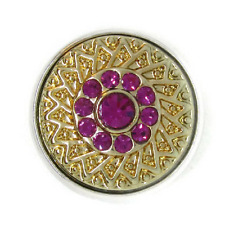 Noosa Chunks Ginger Style Snap Button Charms Gold Weave Purple Rhinestones 20mm