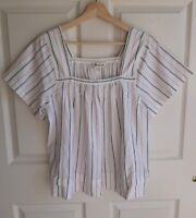 Madewell Womens Short Sleeve White Striped Square Neck Top Shirt Blouse Size XS