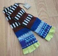 BURBERRY Patterned Fingerless Placed Fairisle Bright Blue Gloves - NWT $380