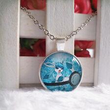 Glaceon Pokeball Pokemon Pendant Tibet silver Cabochon Glass Chain Necklace
