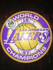 """1987 LOS ANGELES LAKERS WORLD CHAMPIONS PIN BACK BUTTON 6"""" NEW ORIGINAL"""