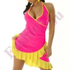 Women's Mini Dress Summer Ladies Short Sundress One Size 8 10 12 14 UK Dark Pink - Yellow Regular