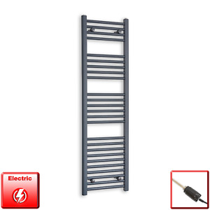 400mm Wide 1400mm High Flat Anthracite Pre-Filled Electric Towel Rail Radiator