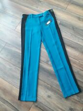 NEW £35 River Island Size 10 Turquoise Blue Black Stripe Smart Trousers Straight