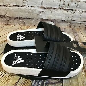 adidas Adilette Boost Mens Black and White Slides Sandals Size 7