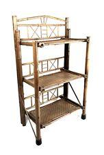 Vintage 3 Tier Shelf Wicker Rattan Bamboo Unit Boho Chic Tiki Plant Stand