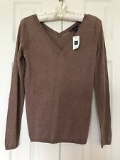 New GAP Women's CASHMERE Silk Double-V Lightweight SWEATER Long Sleeves Knit Top