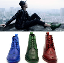 38-45 Mens Real Cow Leather Ankle Boots Shoes Carved Work Brogue Derby Outdoor L