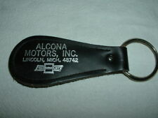 VINTAGE LEATHER KEY CHAIN FOB  ALCONA MOTORS INC LINCOLN MICH. CHEVROLET