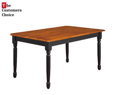 New ListingLarge Farmhouse Wooden Dining Table Oak Tabletop Dining Kitchen Room Furniture