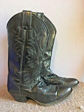 Vintage Justin Cowboy Boots Black Leather Md n Usa Boho Hippie Coachella 5.5 Euc
