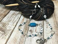 Knitting Row Counter- Blue Crystal 1-10 Chain Counter- Numbered Stitch Markers