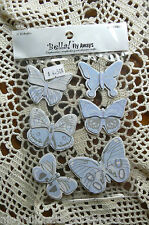 Bella Pearl BLUE x 6 Butterfly Stickers per pack Hard Paper 5x3.5 to 6x5cm sizes