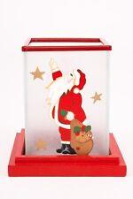 Hochwertiges Windlicht Nikolaus, satinierter Glaszylinder auf Holzteller im 2er