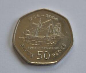 50p Gibraltar 2004  Battle of Trafalgar Fifty pence Coin