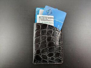 NEW Handmade Slim embossed ALLIGATOR leather wallet front pocket Micro Wallet