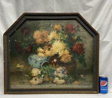Vtg 1920-30's RARE HEXAGON Frame PV Valmon MUM Flowers Vase floral PRINT