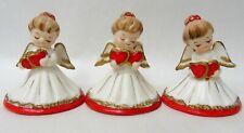 3 Vintage Lefton Valentine Angels Double Heart Figurines t380